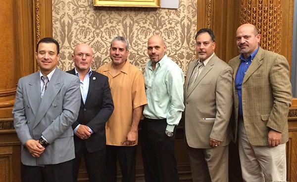 The UBC Latino Club broke bread at Brooklyn Borough Hall where Brooklyn Borough President Eric Adams & Deputy BP Diana Reyna hosted an Evening Ceremony in Celebration of Latino Heritage. (Photo courtesy of NYC Carpenters)
